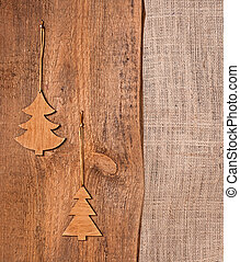 Wooden and burlap Christmas background