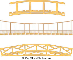 wooden and hanging bridge vector