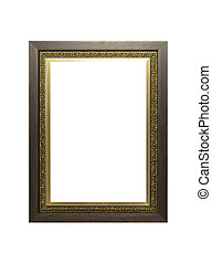 Wooden and metal frame isolated
