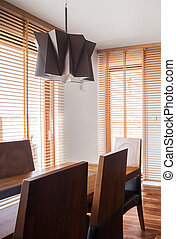 Wooden and modern dining room