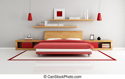 minimalist bedroom - wooden and red minimalist bedroom -...