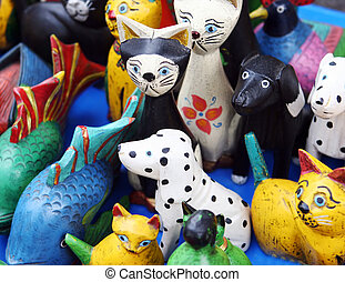 Colorful wooden animal toys
