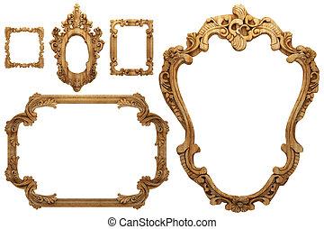 wooden antique frame - wooden antique frame made 3 D...