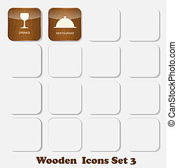 Wooden Application Icons Set Vector Illustration