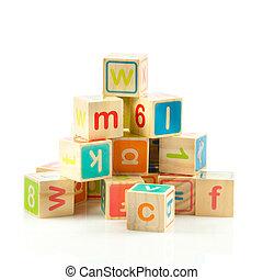wooden apró, kikövez, noha, letters., fából való, abc, blocks.