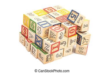 wooden apró, kikövez, noha, letters., wooden alphabet gátol