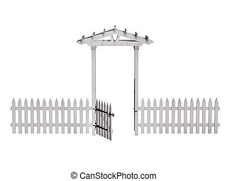 wooden arbor, gate, fence, isolated on the white background...