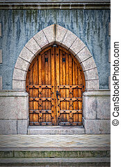 Wooden arched doors from the town hall building in Helsingborg, Sweden.