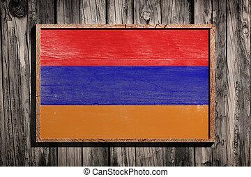 Wooden Armenia flag