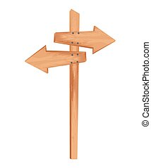 wooden arrow guide sign