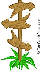 Wooden arrow on the summer landsca