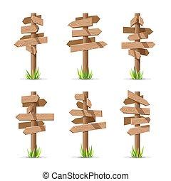 Wooden arrow signboards blank vector set