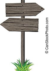 Wooden arrows road sign