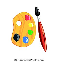 Wooden art palette and paintbrush. Colorful cartoon vector Illustration