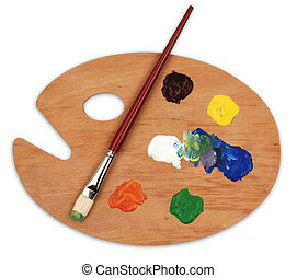 art palette - wooden art palette with blobs of paint and a...