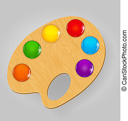 Wooden art palette with paints and brushe