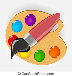 Wooden art palette with paints and brushe icon vector illustration
