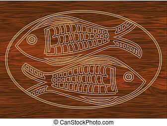 Wooden art, two fish carved into dark wood, symbol of...