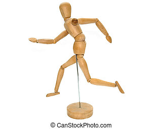 Wooden Artist dummy model against a white background in a...