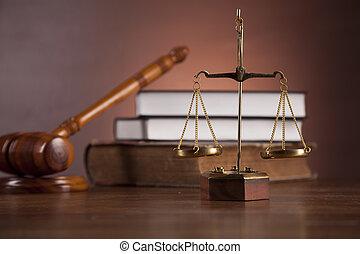wooden asztal, alatt, egy, megszilárdítja a törvényt