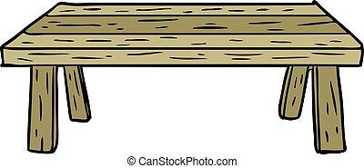 wooden asztal, karikatúra