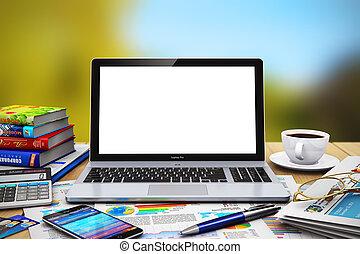 wooden asztal, laptop, szabadban, tiszta