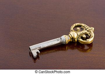 wooden asztal, retro, kulcs