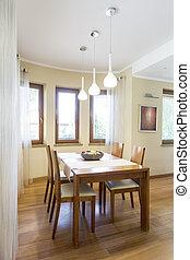 wooden asztal, terület, dinning, klasszikus