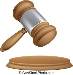 Wooden auction gavel - An illustration of a wooden judges...