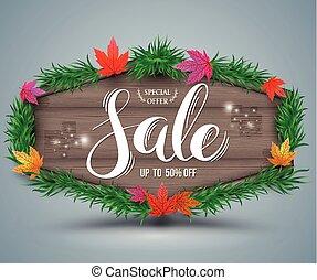 Wooden autumn sale signboard