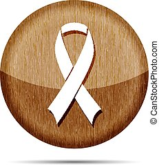 wooden awareness ribbon isolated on a white background