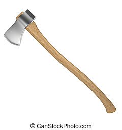 Wooden axe. 3d illustration isolated on white background