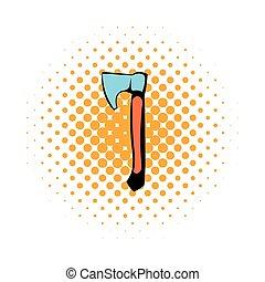Wooden axe icon, comics style