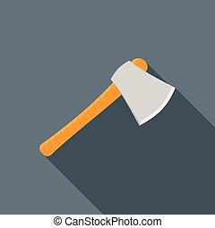Wooden axe icon, flat style