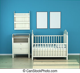 wooden baby bed in the room against the wall