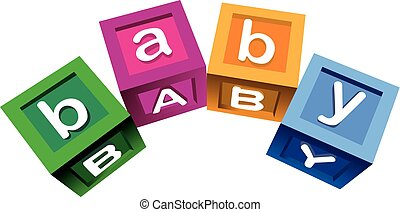 Wooden baby blocks - Colorful blocks with the word baby.