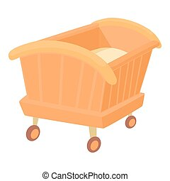 Wooden baby cot icon, cartoon style
