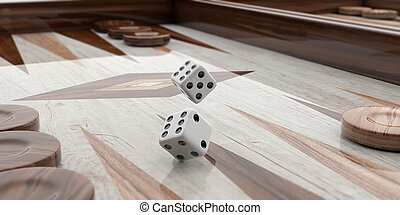 Wooden backgammon board closeup. 3d illustration
