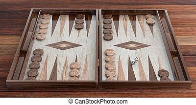 Wooden backgammon board. 3d illustration