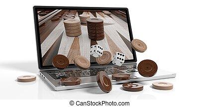 Wooden online backgammon concept on white background. 3d illustration