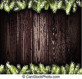 Wooden background. - Wooden background with fir branches.
