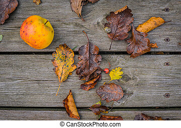 Wooden background with autumn apple