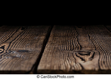 Wooden background (with black Copyspace) - Dark and rustic...