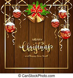 Wooden Background with Christmas Balls