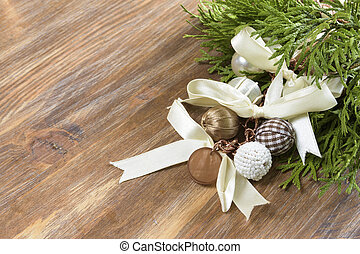 wooden background with christmas decoration. Copy spa?e