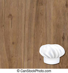 Wooden Background With Cook Cap With Gradient Mesh, Vector...