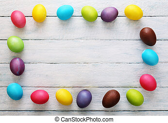 Wooden Background with eggs. Top view
