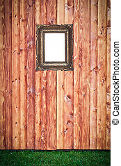 Wooden background with empty frame