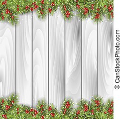 Wooden Background with Fir Branches and Berrie