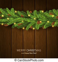 Wooden Background with Fir Tree Branches and Christmas Lights
